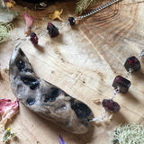 Red Garnet Rhodolite and PNW Driftwood Necklace