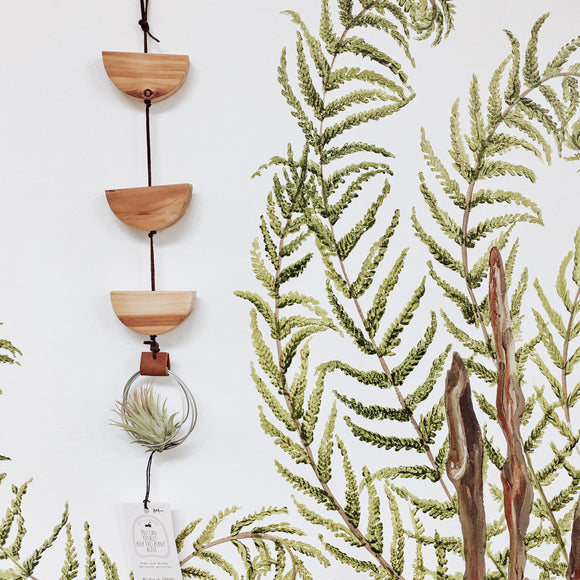 Hanging Reclaimed Wood and Suede Air Plant Holder
