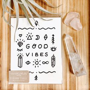 Black and White Good Vibes Blank Note Cards