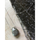 Iridescent Labradorite Teardrop Pendant Sterling Silver Statement Necklace