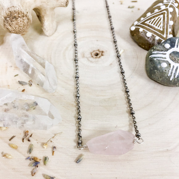 Nickel Free Rose Quartz Pendant Necklace