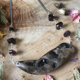 Found object Necklace with Rhodolite