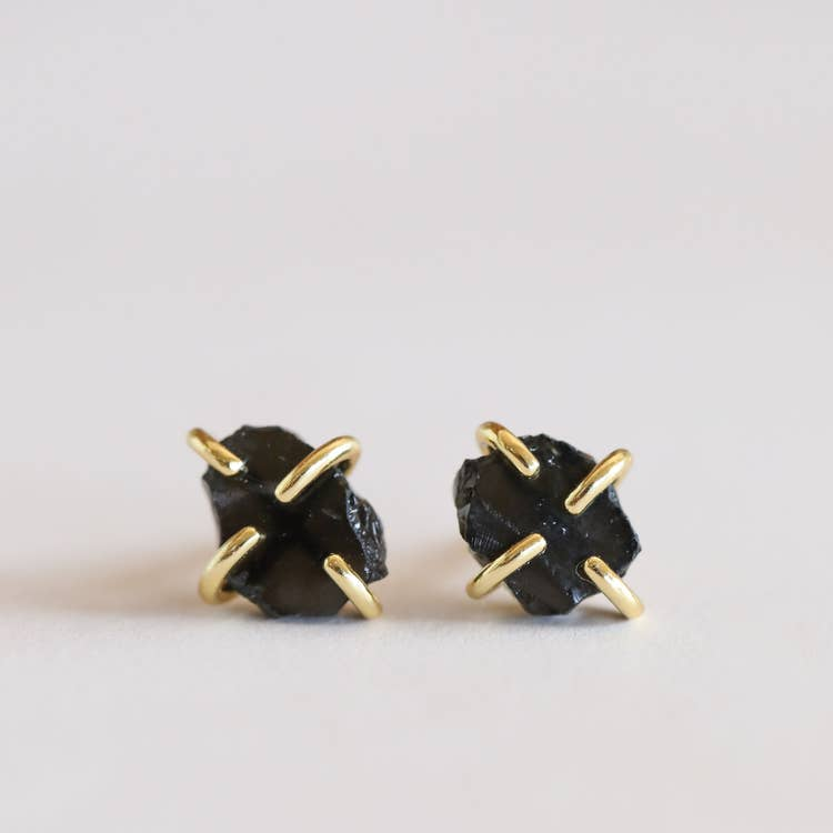 Obsidian Prong Earrings