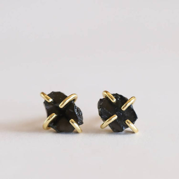 Handmade Gold Plated Obsidian Prong Earrings