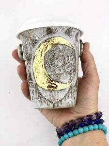 Crescent Moon Ceramic Travel Cup