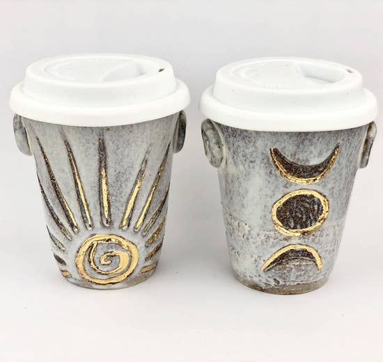 Handmade Rising Sun Ceramic Travel Cup with Lid