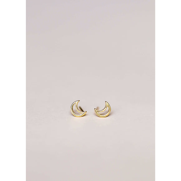 Handcrafted Gold Plated Moon Tiny Stud Earrings