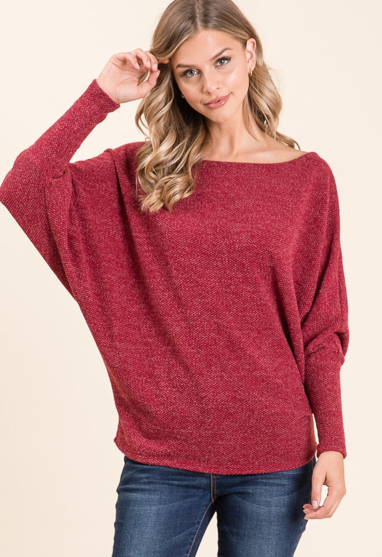 Wait For You Off Shoulder Wine Red Top