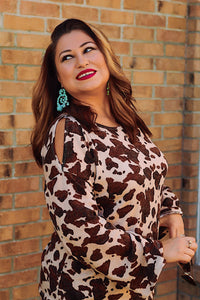 Little Ways Mocha Cow Print Top