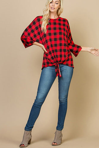 By My Side Buffalo Plaid Tie Top