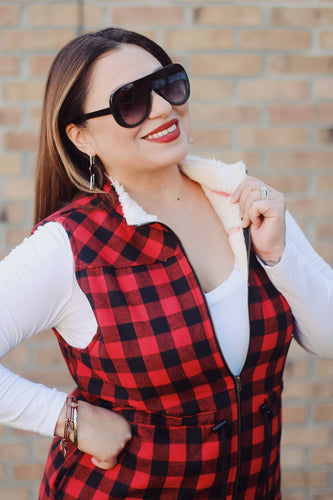 Lost In You Buffalo Plaid Vest Red