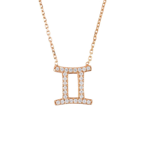 Zodiac Star Sign Pendant Necklace Rose Gold Gemini