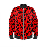 Ladies Red Leopard Designer Bomber Jacket in textiles