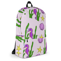 Pink Seascape Backpack Original Exclusive Design Made On Demand