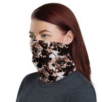 Rose Sepia Neck Gaiter Face Covering for Men & Women Made On Demand