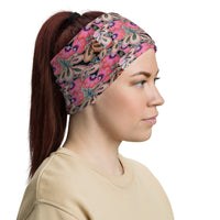 Pink Flowers Neck Gaiter Face Covering for Men & Women Made On Demand