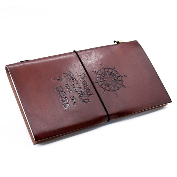 Handmade Leather Journal-Notebook- Travel the World - Brown Vintage Gift
