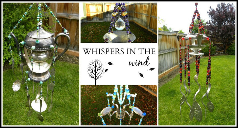 Rustic wind chimes handcrafted from re-purposed silver flatware and kitchen items in an artistic unique way
