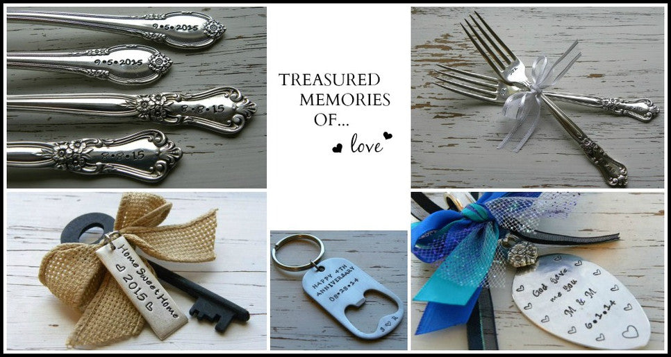 Hand stamped heirloom gifts and keepsakes for your wedding birth of child holiday or new home
