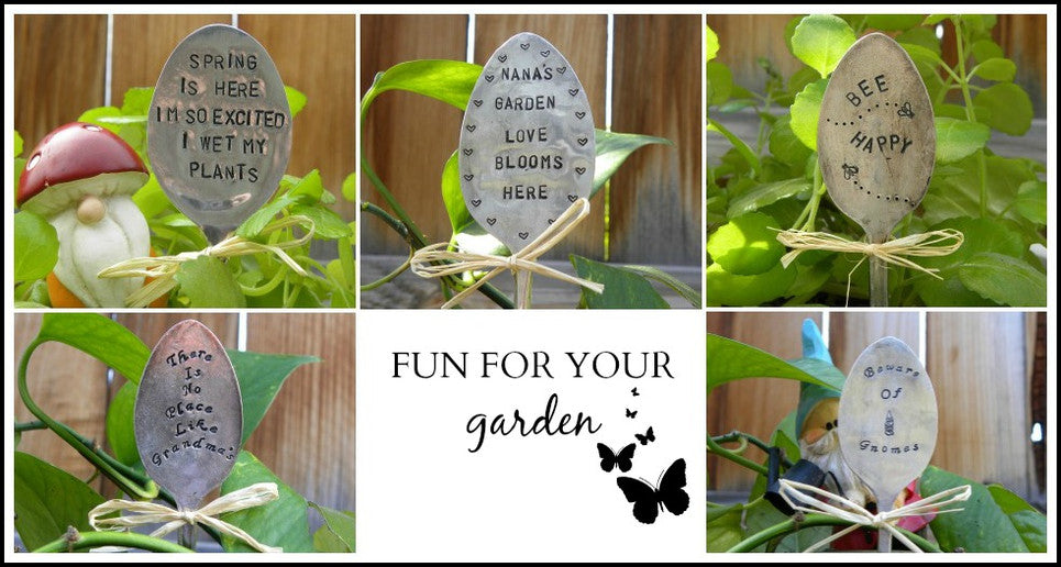 Hand stamped garden markers made from silver flatware for quirky rustic upcycled garden fun