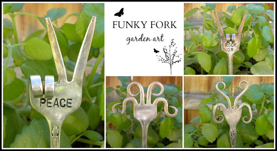 Funky fork garden art made from vintage and antique silver forks.  The tines have been curled into fun shapes for a unique gift or personal item for your garden or planter bed