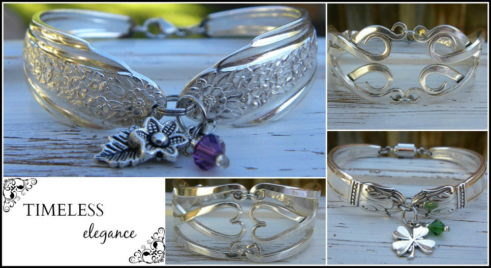 Unique bracelets made from fork tines and spoon fork handles.  Artistic styling originally thought of as hippie jewelry that is a popular fashion trend now