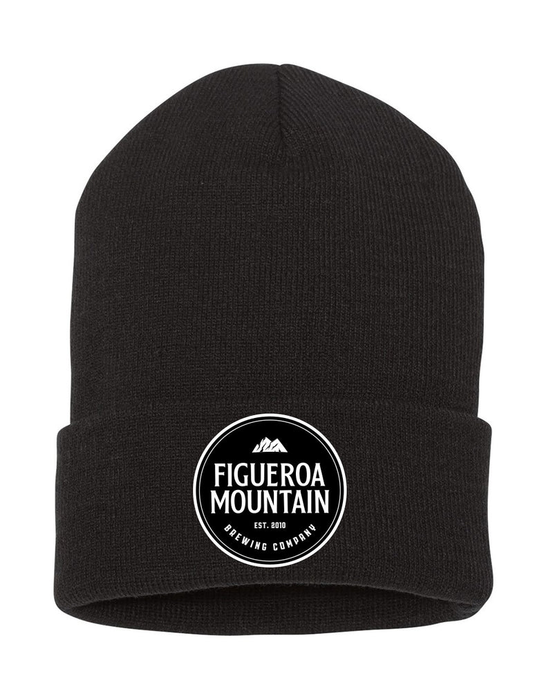 Figueroa Mountain - Round Patch Fold Beanie - Black