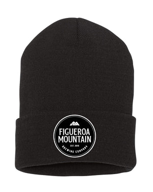 Load image into Gallery viewer, Figueroa Mountain - Round Patch Fold Beanie - Black