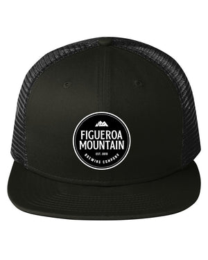Figueroa Mountain - Round Patch Trucker Hat - Black