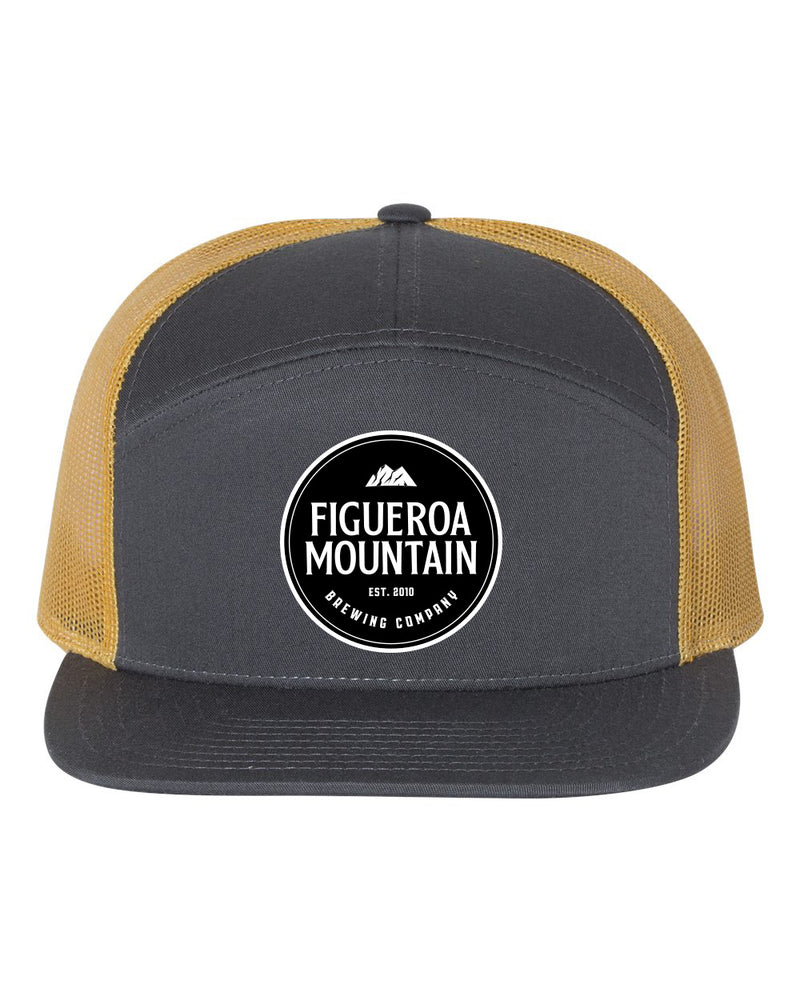 Figueroa Mountain - Round Patch 7-Panel Trucker - Gray/ Gold