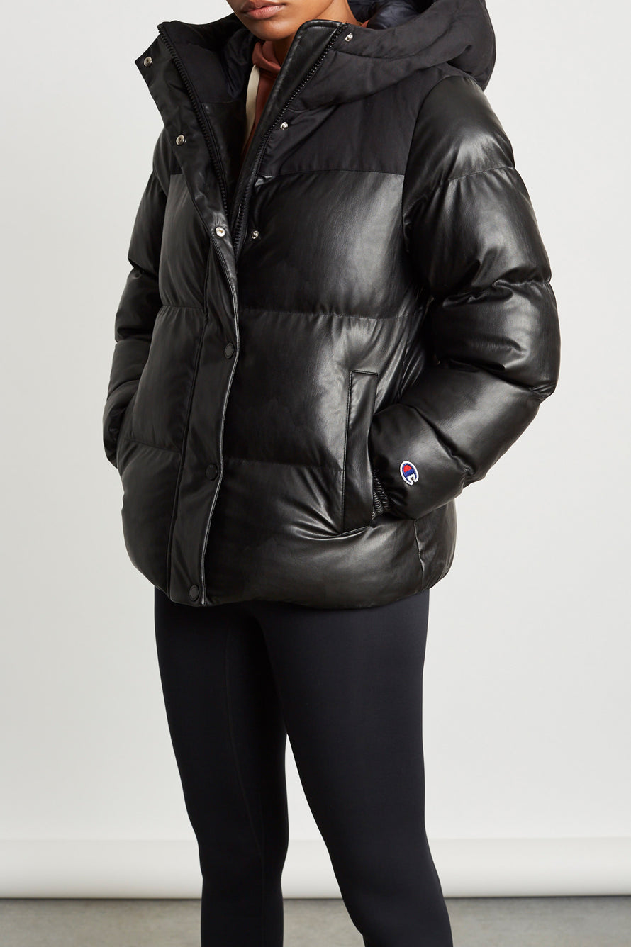 Oversized Puffer Jacket by Champion Europe Reverse Weave in Black 1