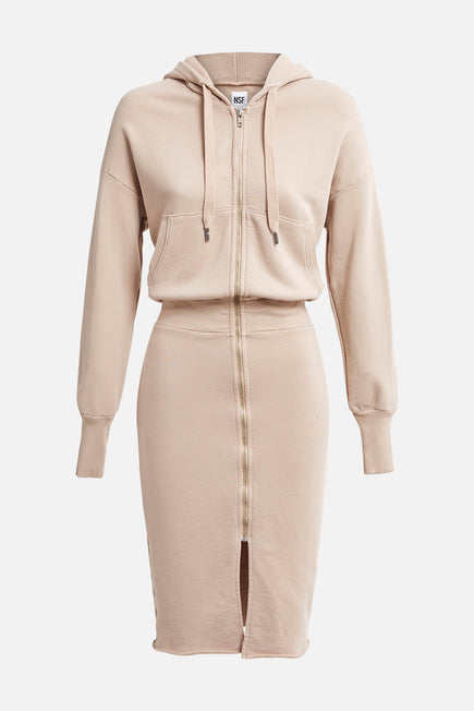 Luq Hooded Zip Dress Jumper by NSF in Bisquet 1