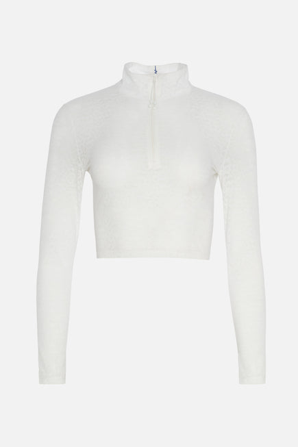 Long Sleeve Crop Top by Adam Selman Sport in White 6