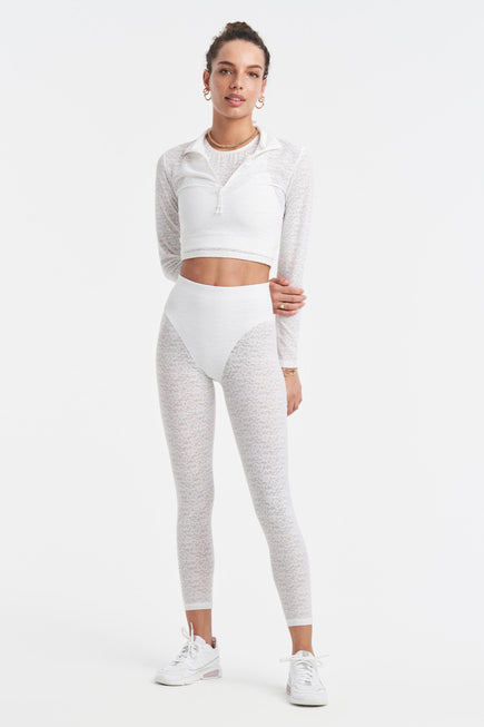 Long Sleeve Crop Top by Adam Selman Sport in White 5