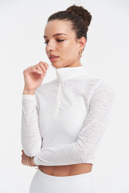 Long Sleeve Crop Top by Adam Selman Sport in White 1