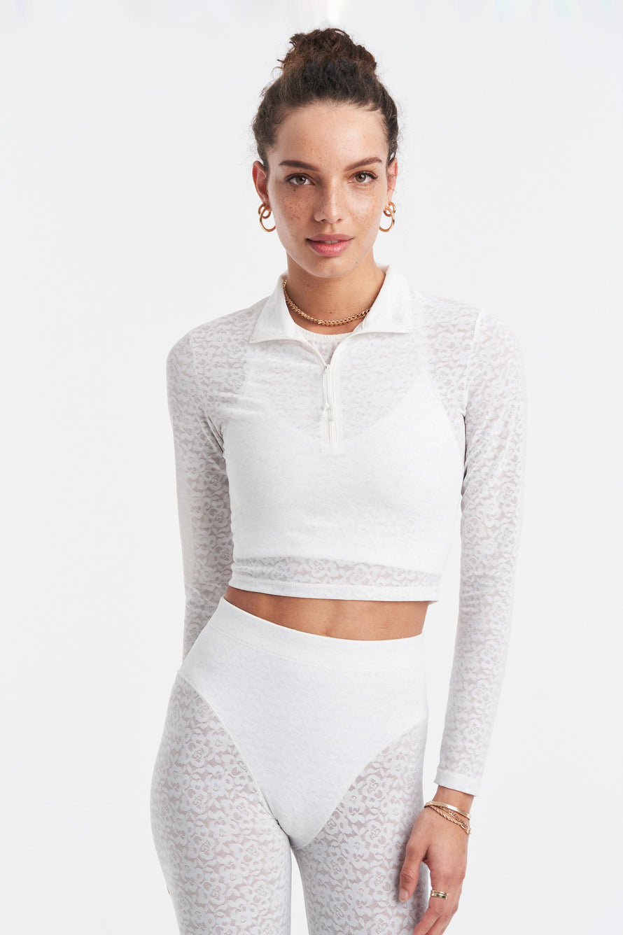 Long Sleeve Crop Top by Adam Selman Sport in White 3