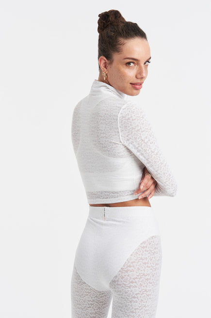 Long Sleeve Crop Top by Adam Selman Sport in White 4