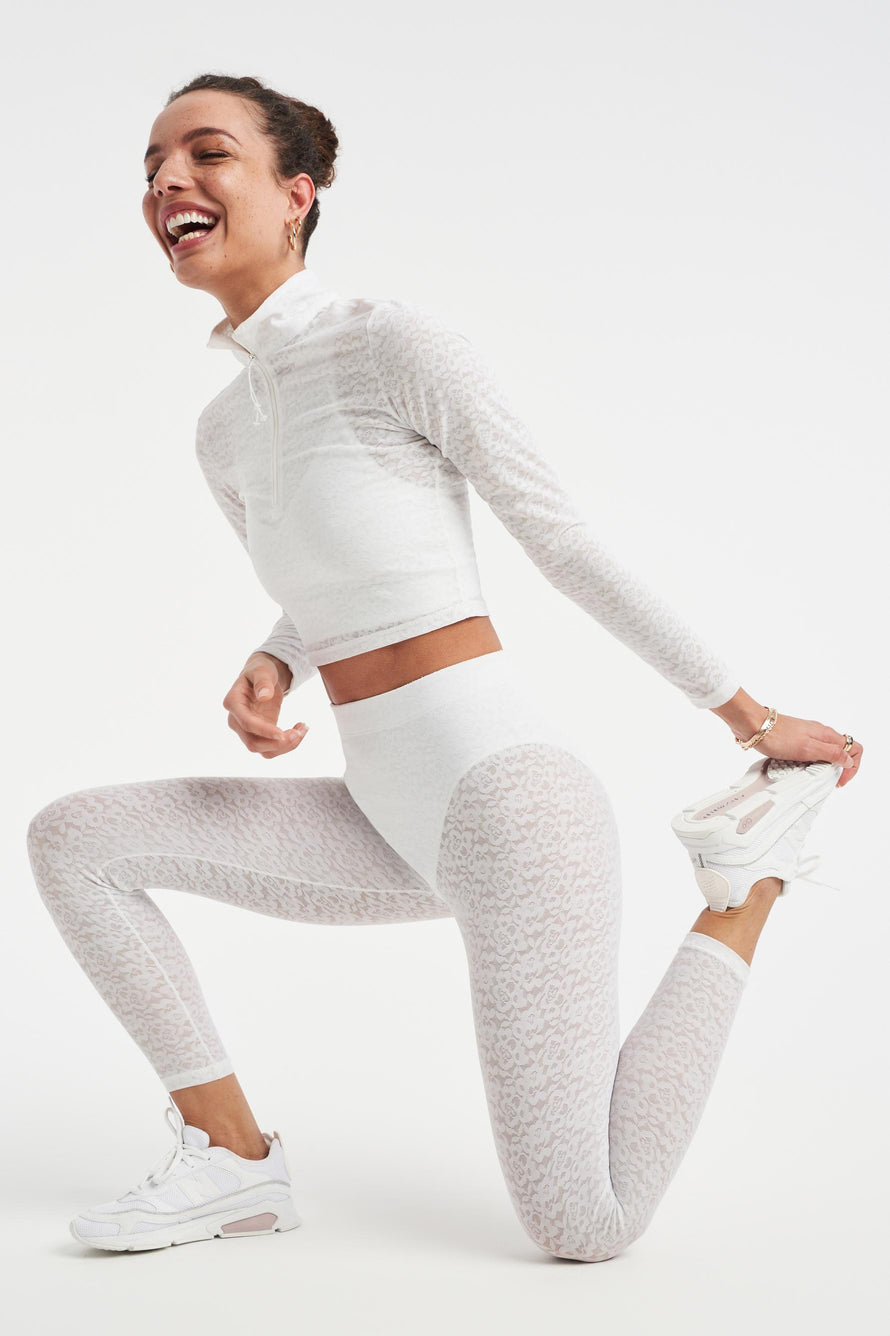 Long Sleeve Crop Top by Adam Selman Sport in White 2