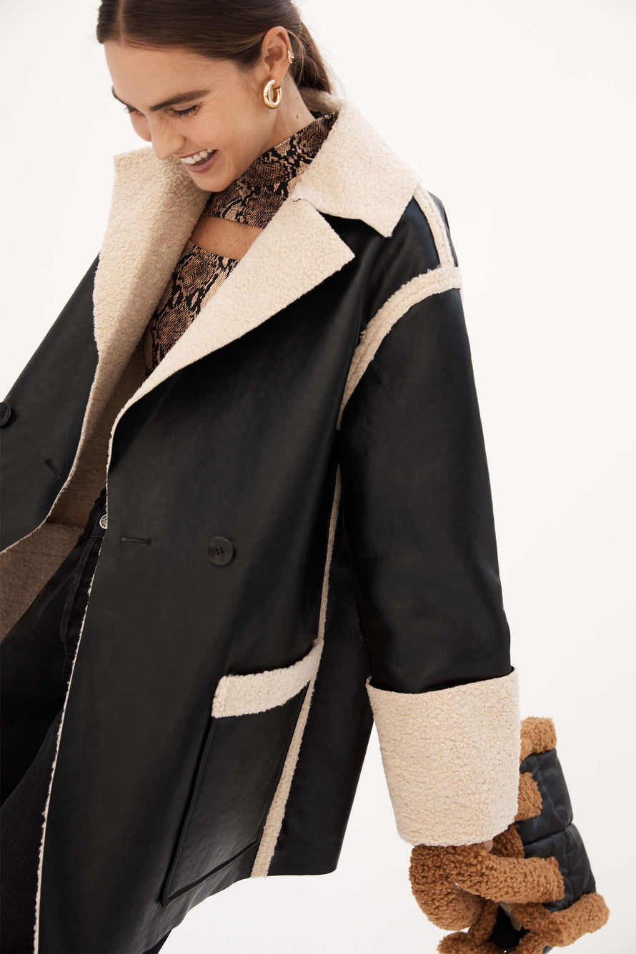 Faux Sherpa Reversible Coat by Proenza White Label in Natural/black 1