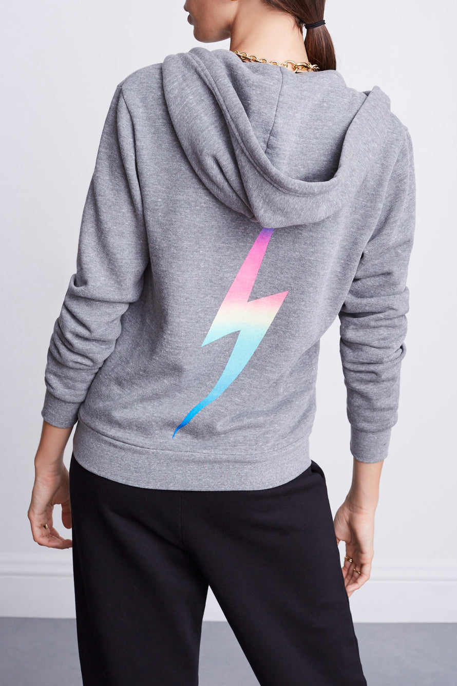 Bolt Zip Hoodie by Aviator Nation in Heather/rainbow Pink 1