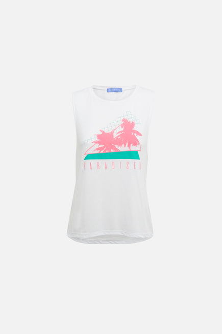 Palms Tank by Paradised in White/electric Teal/sunny Neon 6