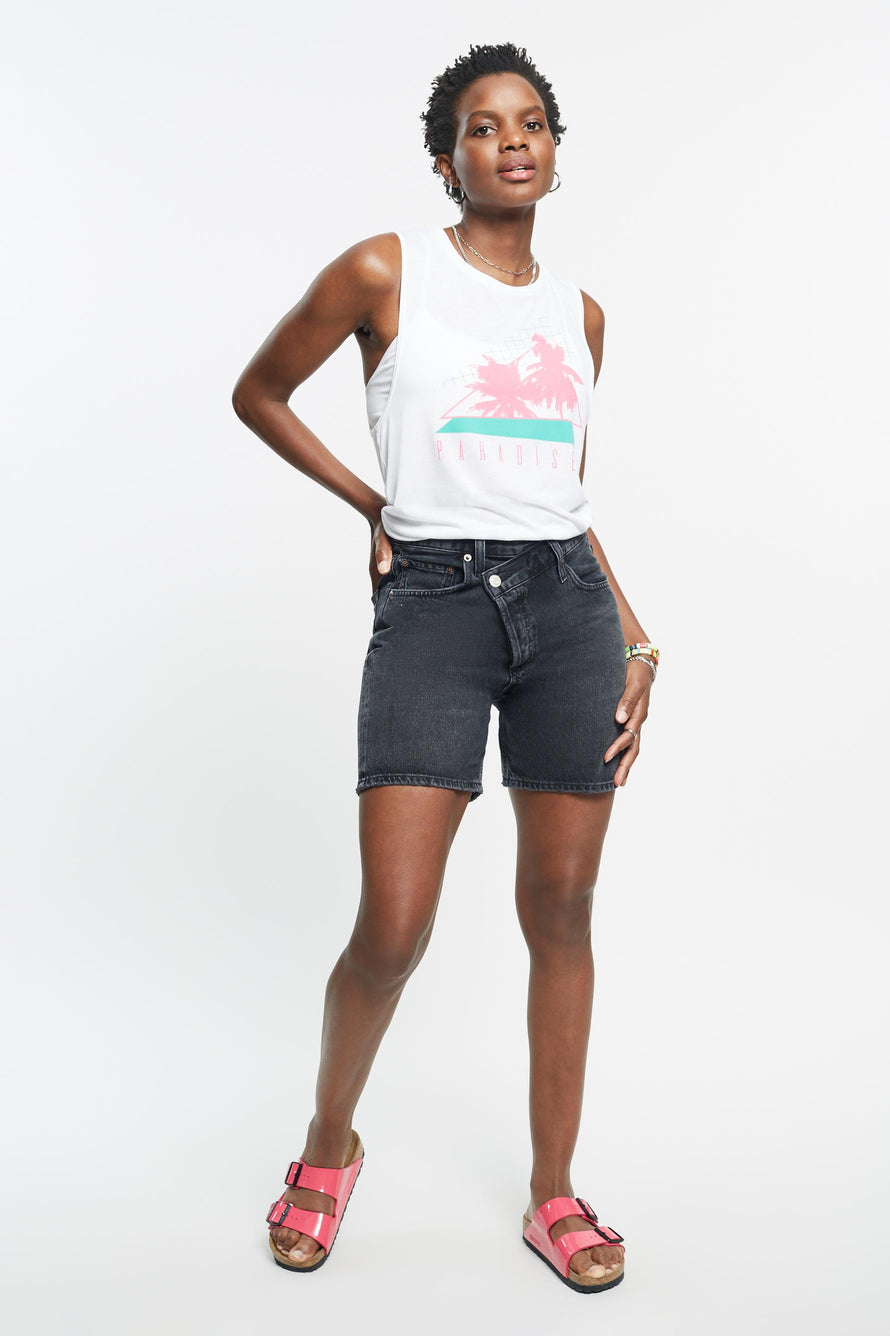 Palms Tank by Paradised in White/electric Teal/sunny Neon 2