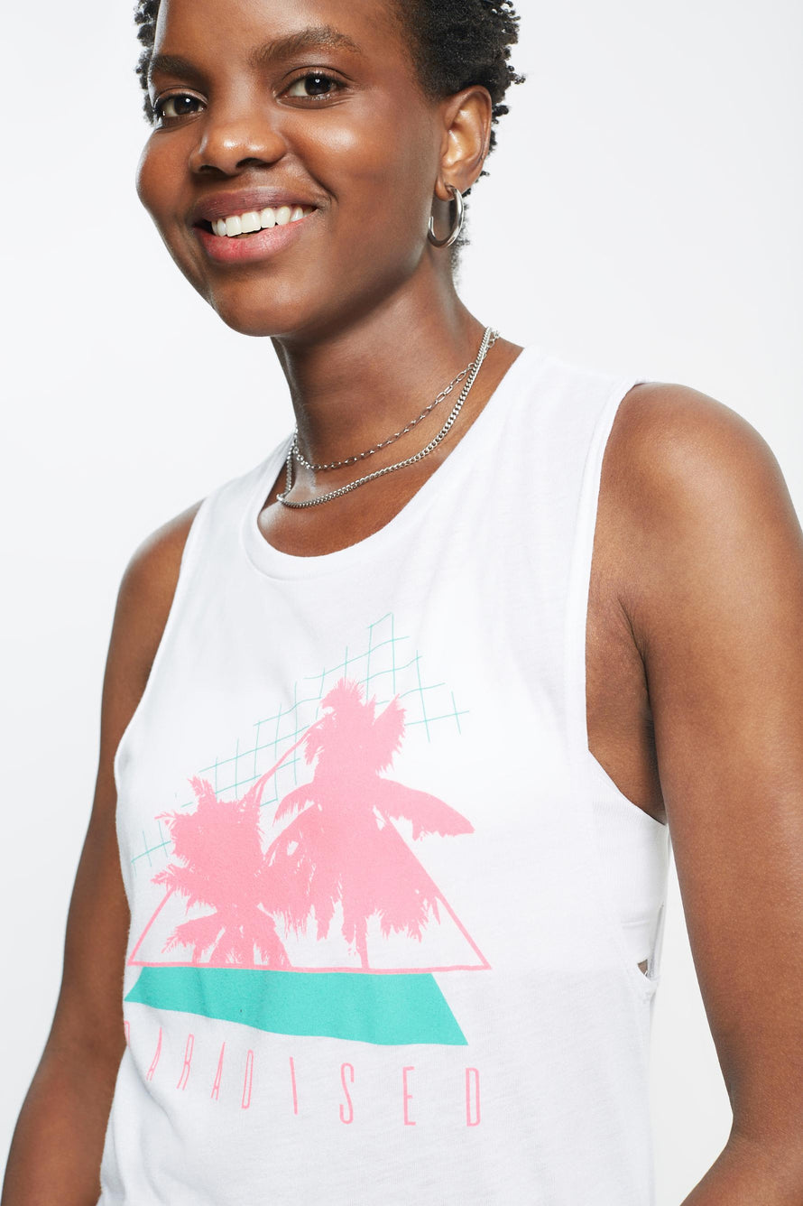 Palms Tank by Paradised in White/electric Teal/sunny Neon 3