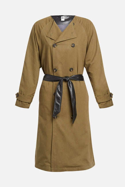 Gladys Contrast Back Trench by NSF in Olive/black 1
