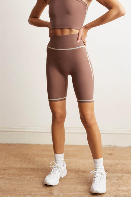 Otis Biker Short by BANDIER x Alix NYC in Taupe/pink Sand 3