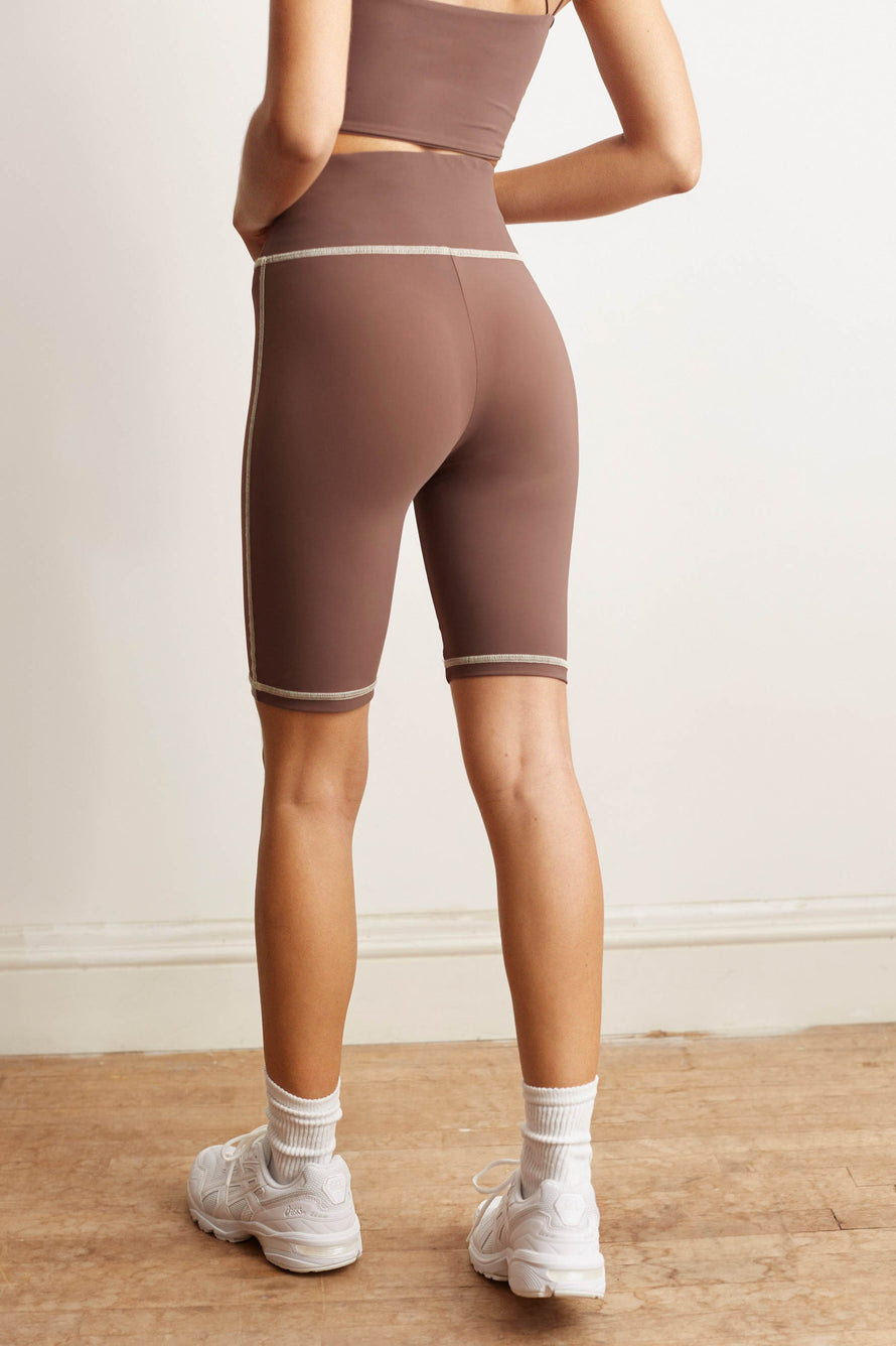 Otis Biker Short by BANDIER x Alix NYC in Taupe/pink Sand 4