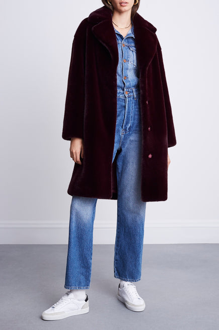 Camille Cocoon Coat by Stand Studio in Dark Burgundy 3