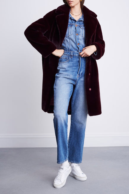 Camille Cocoon Coat by Stand Studio in Dark Burgundy 5