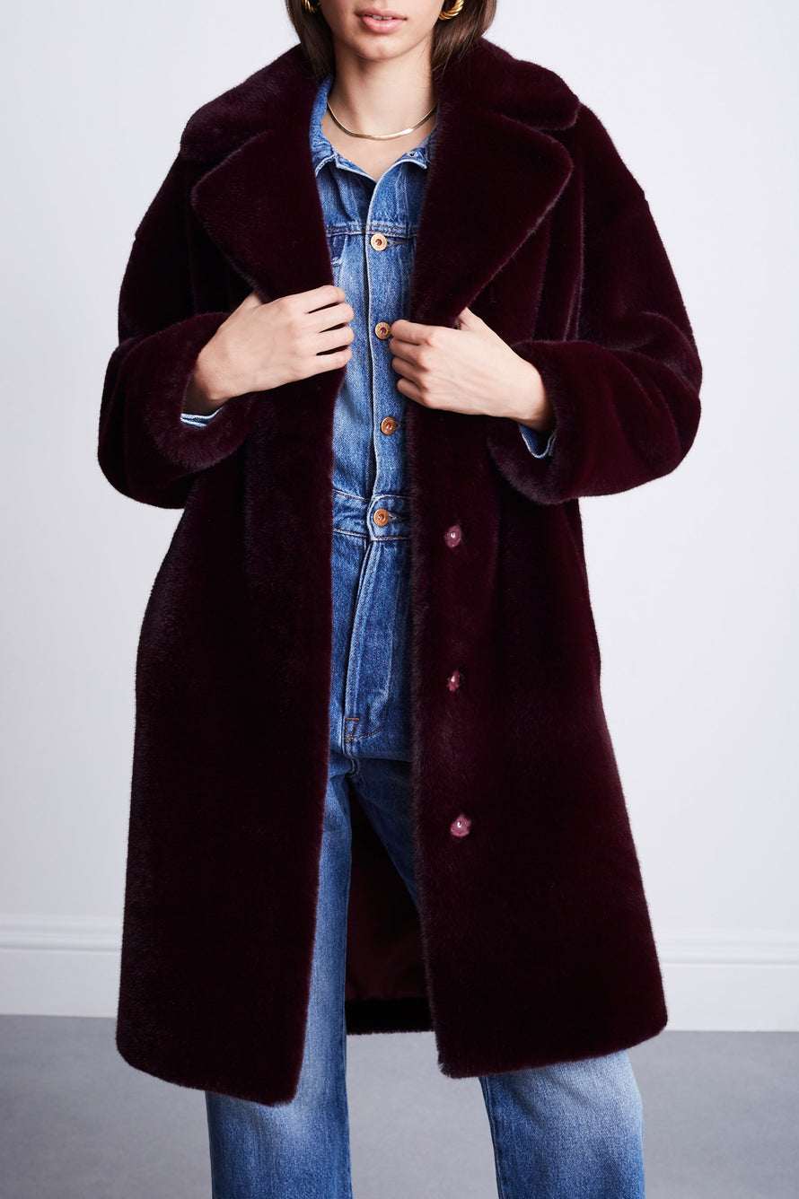 Camille Cocoon Coat by Stand Studio in Dark Burgundy 7