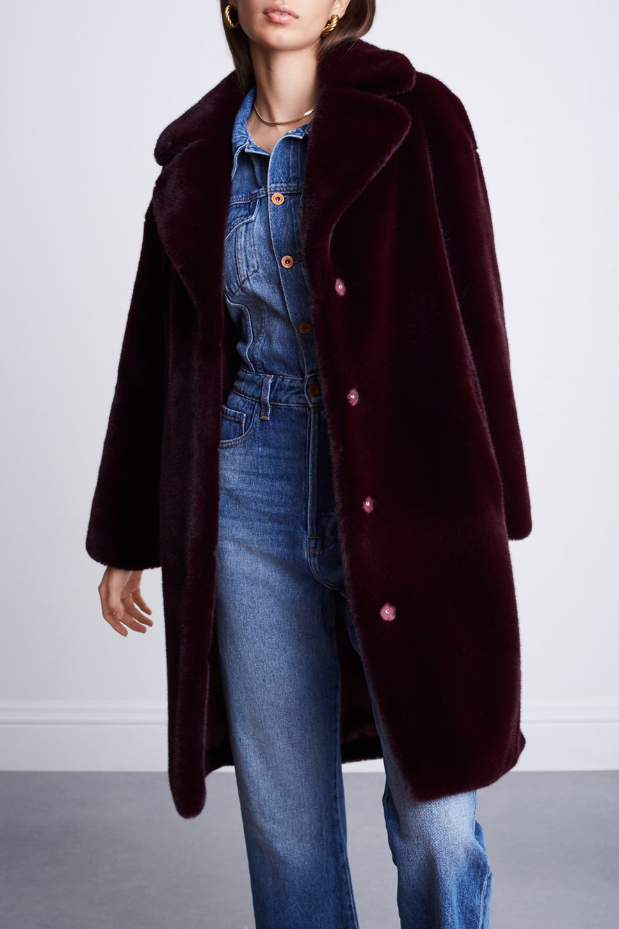Camille Cocoon Coat by Stand Studio in Dark Burgundy 8
